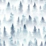 painting of pine trees on white background