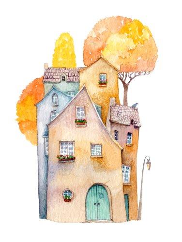 drawing of a pretty neighborhood