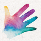 hand spread wide in rainbow colors